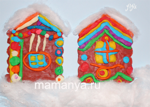Фото новогодний домик своими руками