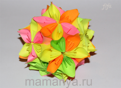 Кусудама из цветов, шар. Мастер класс