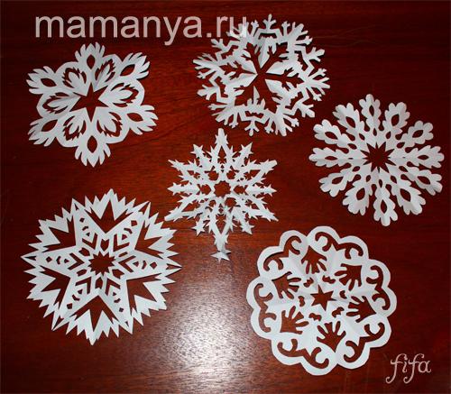 Как сделать новогодние снежинки своими руками, снежинки из бумаги, белые снежинки фото